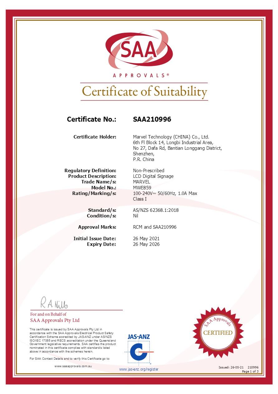 Certificate of Saa